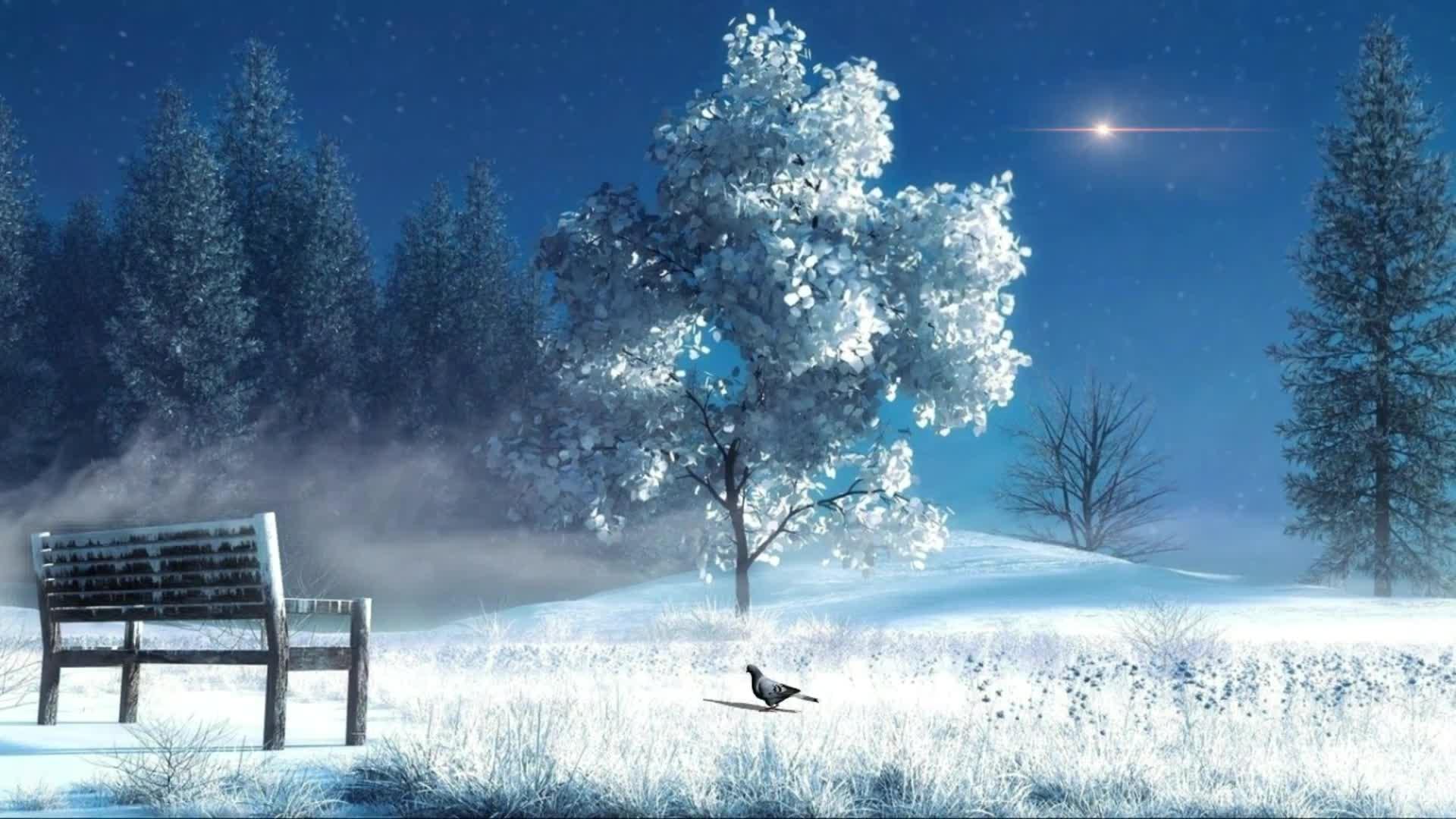 唯美浪漫冬季雪景夜景视频素材