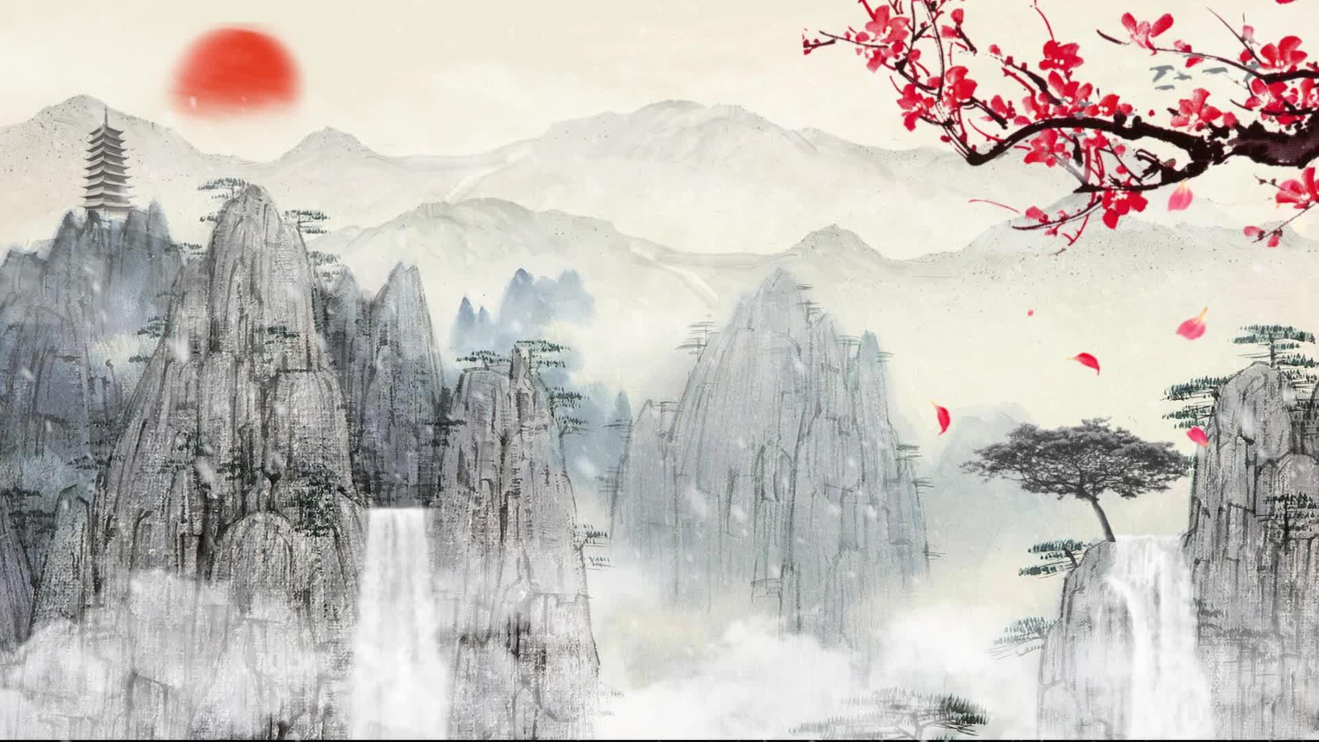 中国风复古山水led背景素材 深山 高山 云山雾绕 水墨黄山 水墨塔楼 瀑布 朗诵背景 古琴演奏背景led素材