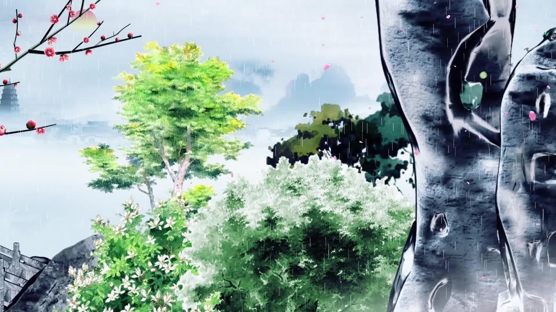 中国风水墨诗韵四季视频背景素材