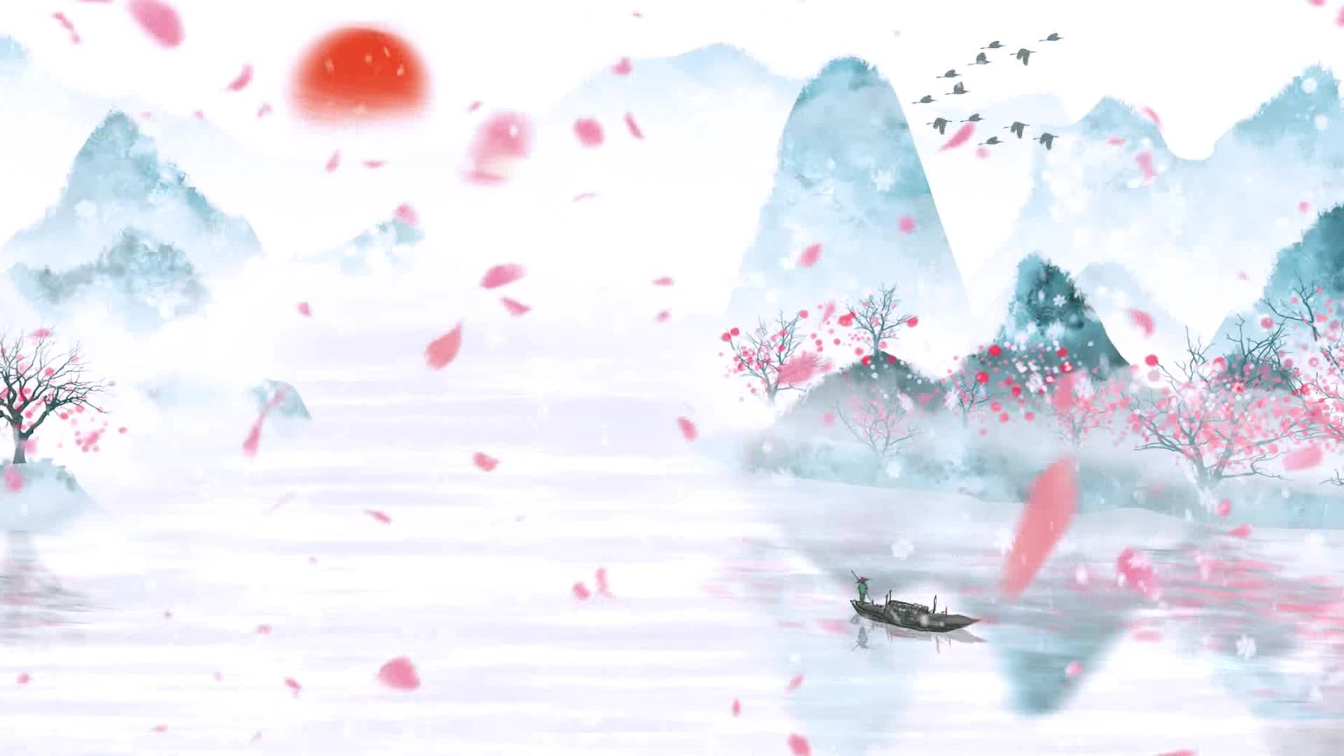 女生版烟雨行舟led视频背景素材